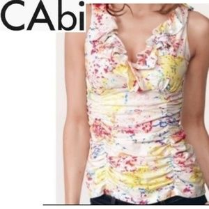 CAbi Ruffle Splattered Print Ruched Tank Top M